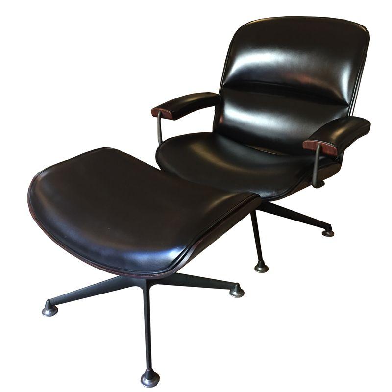 Vintage Sessel mit Fußstütze von Ico Parisi für MIM, 1957