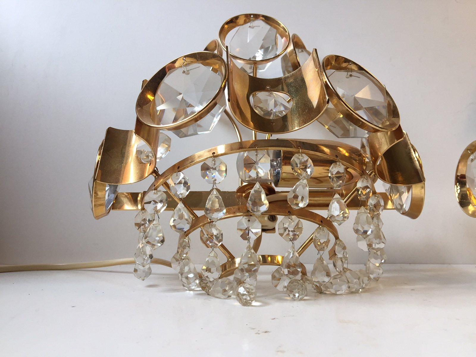 Vergoldete dänische Vintage Wandlampen mit Prismen aus Kristallglas vo...