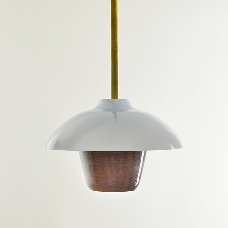 Mokkafarbene Lantern Hängelampe aus mundgeblasenem Glas, Moire Collect...