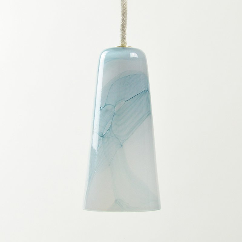 Delta Hängelampe in Hellgrau und Türkis aus mundgeblasenem Glas, Moire...