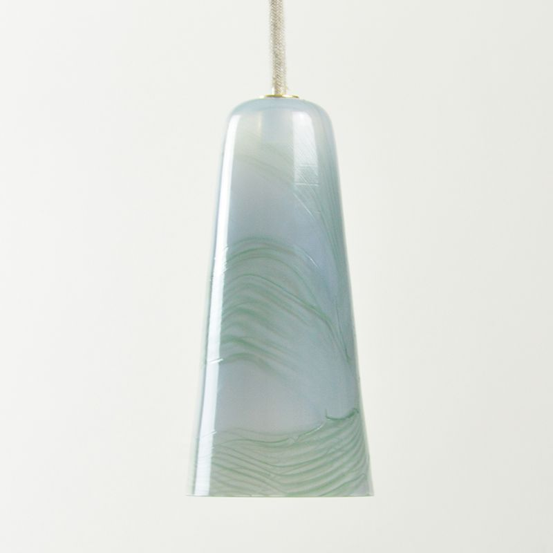 Delta Pendant Lamp in Light Grey & Pastel Green, Moire Collection, Han...