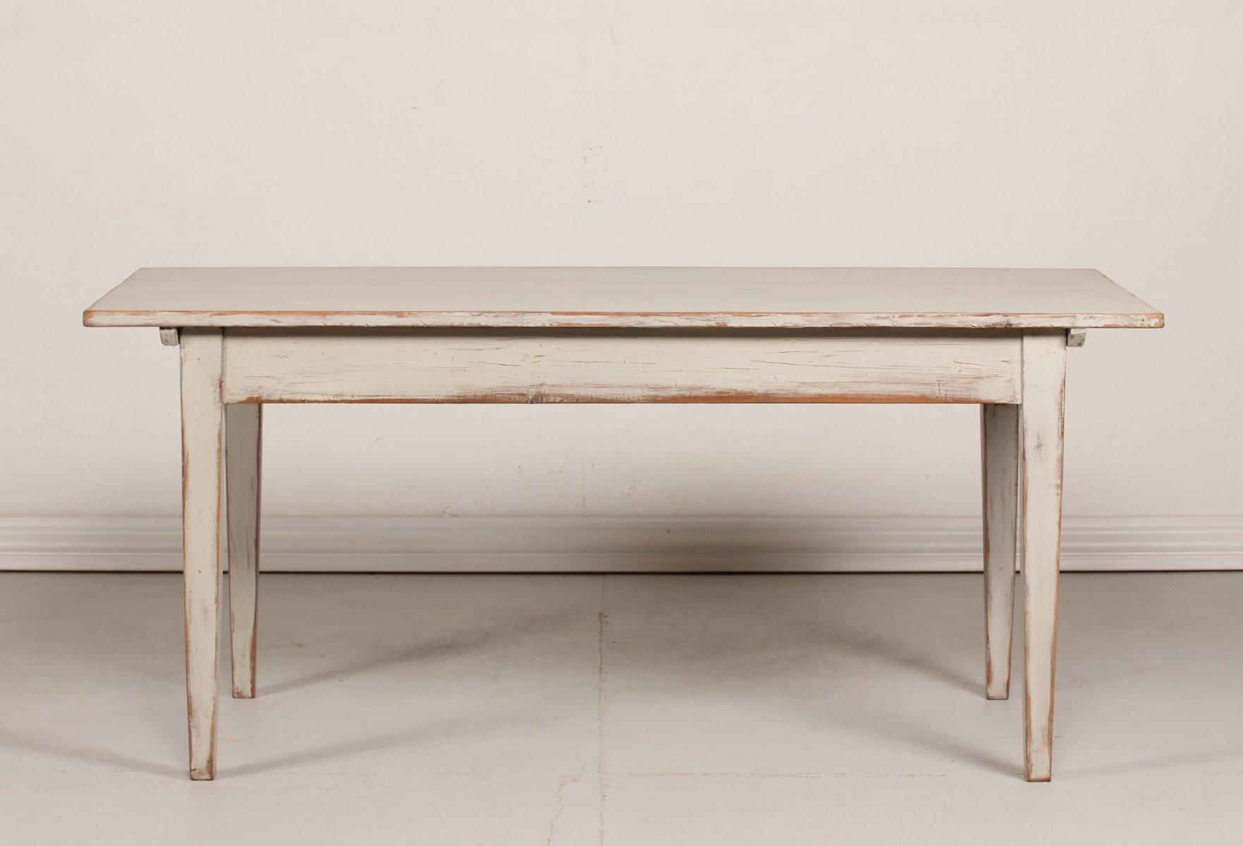 Antiker schwedische Tisch mit grauer Patinierung