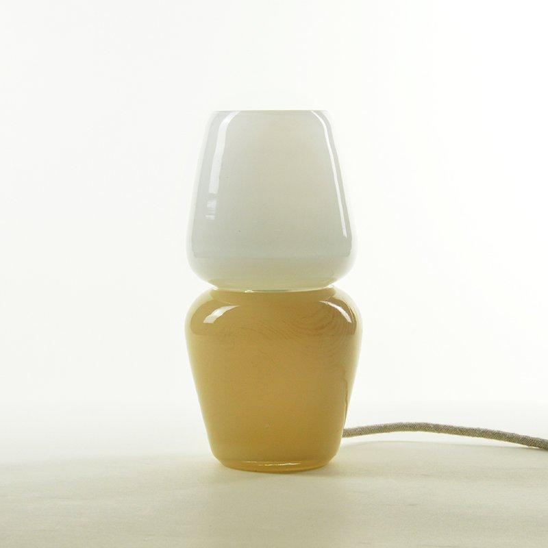 Duo Tischlampe in Beige aus mundgeblasenem Glas, Moire Collection von ...