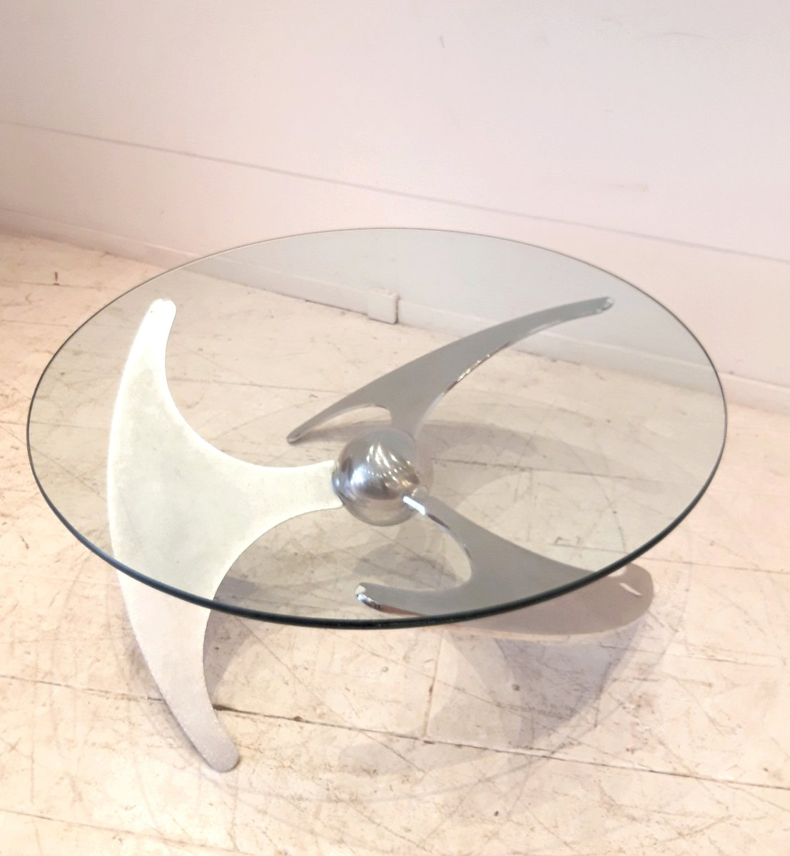 Vintage Adjustable Inox & Glass Coffee Table By L