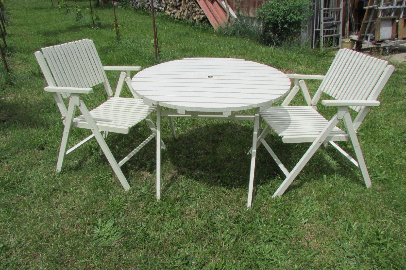 Tavolo e sedie da giardino pieghevoli di gleyzes anni 39 50 in vendita su pamono - Tavolo e sedie giardino ...