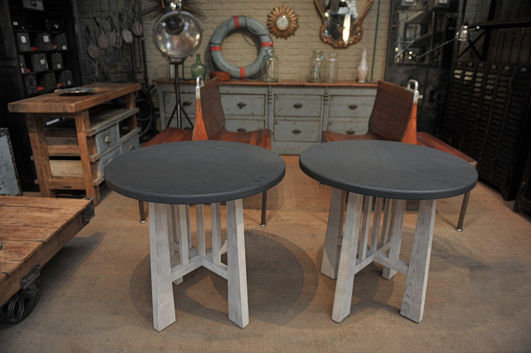 Runde Tische aus Buche & Ulmenholz, 1960er, 2er Set