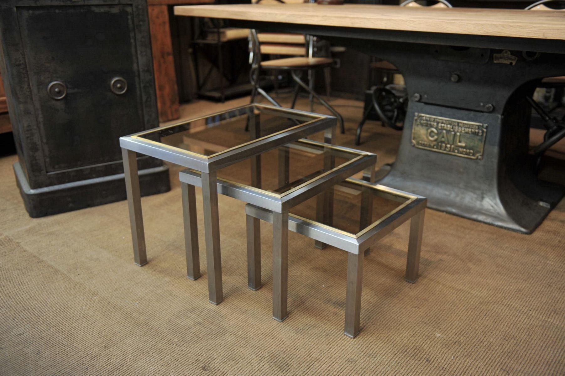 Niedrige Satztische aus Kupfer & Glas, 1970er