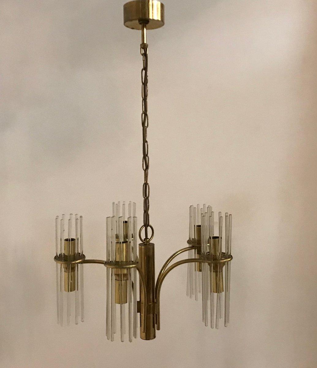 Kronleuchter mit Stäben aus Kristallglas von Gaetano Sciolari, 1970er