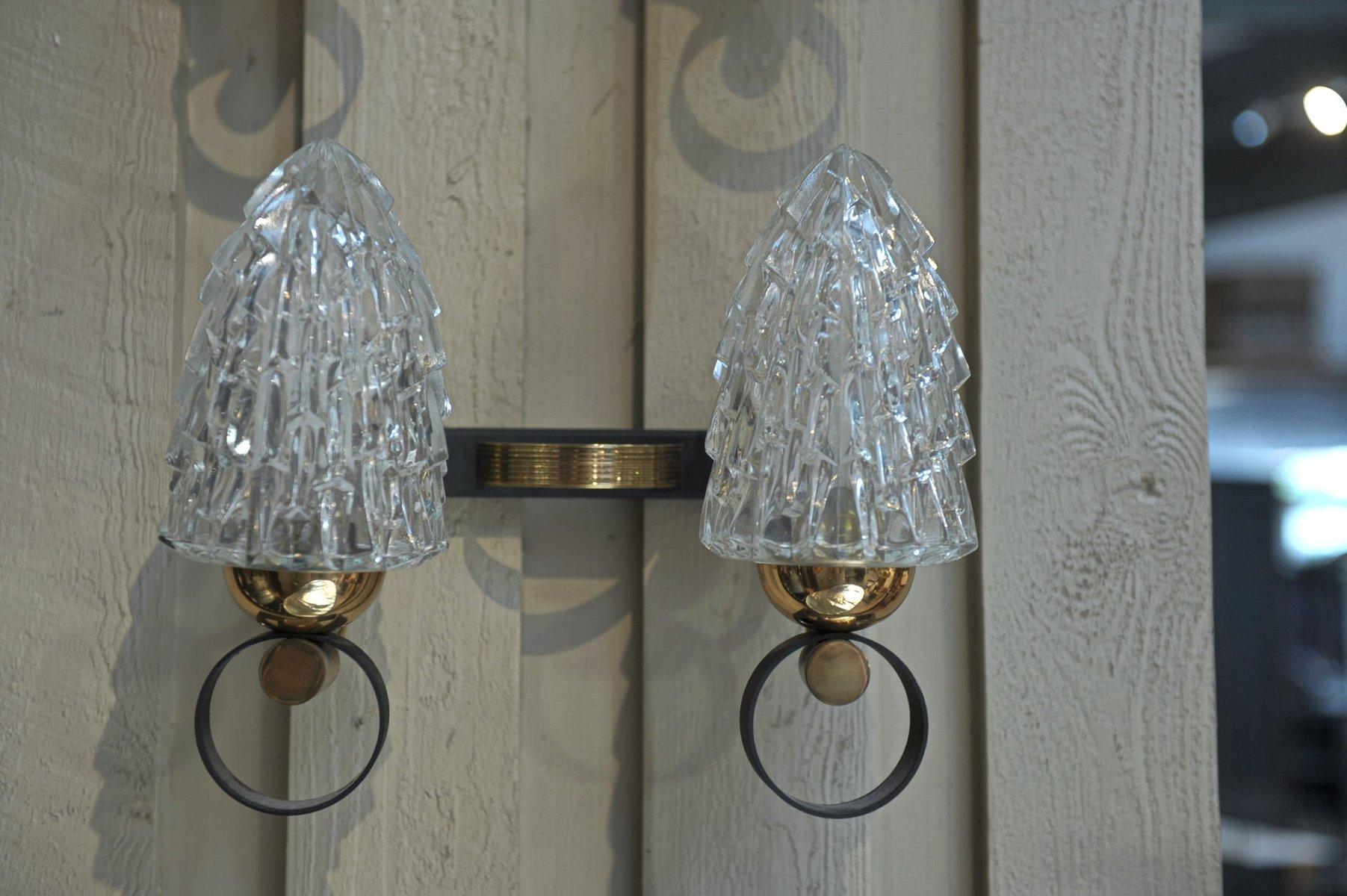 Vintage Wandlampen aus Messing & Glas, 1970er, 2er Set