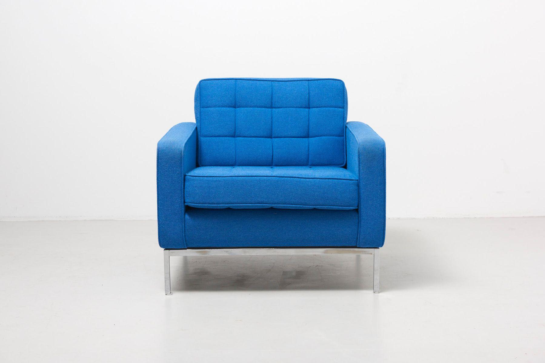 Blauer Sessel von Florence Knoll für Knoll, 1950er