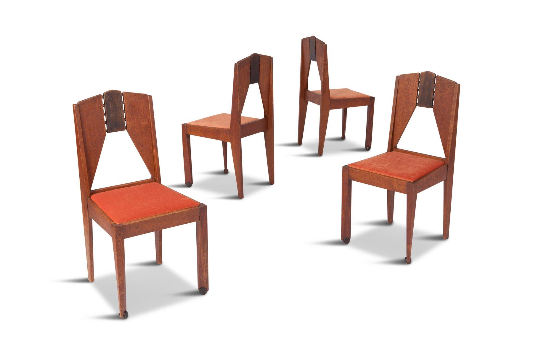 vintage amsterdamer schule esszimmerst hle 4er set bei pamono kaufen. Black Bedroom Furniture Sets. Home Design Ideas