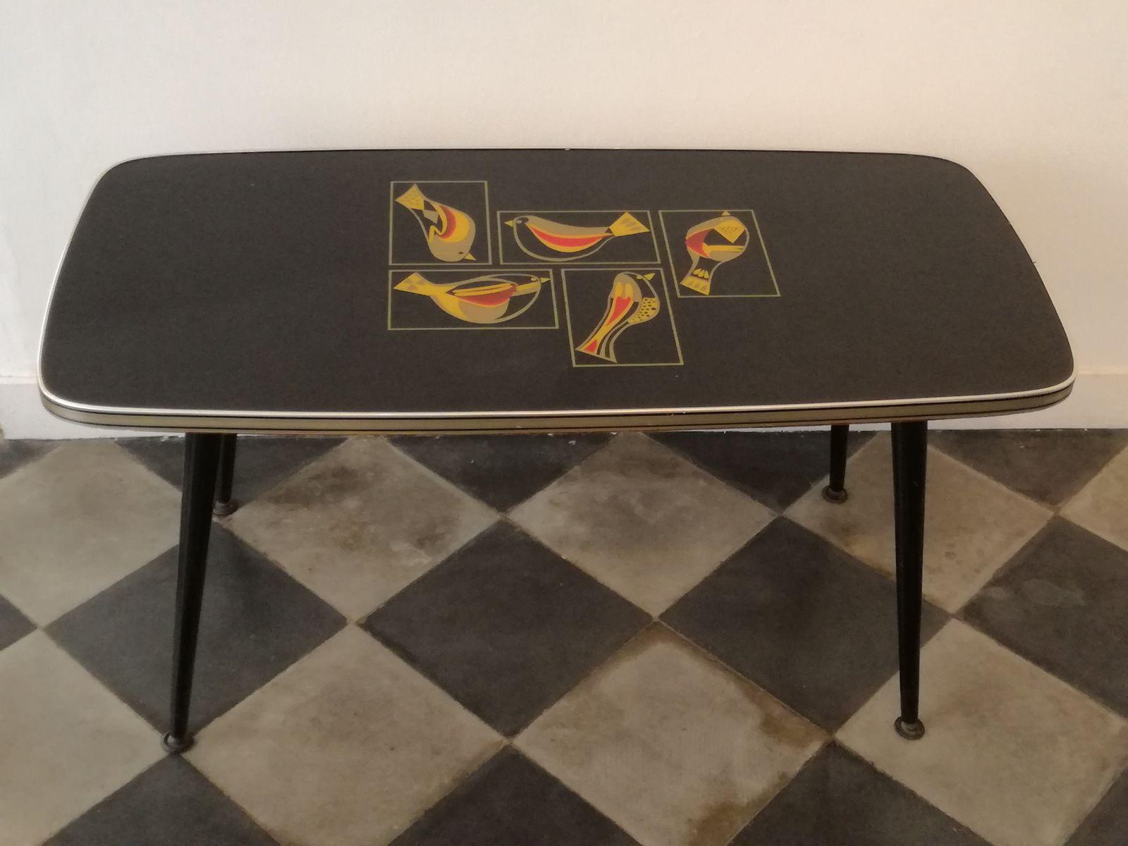 Couchtisch mit Vogel-Motiv, 1950er