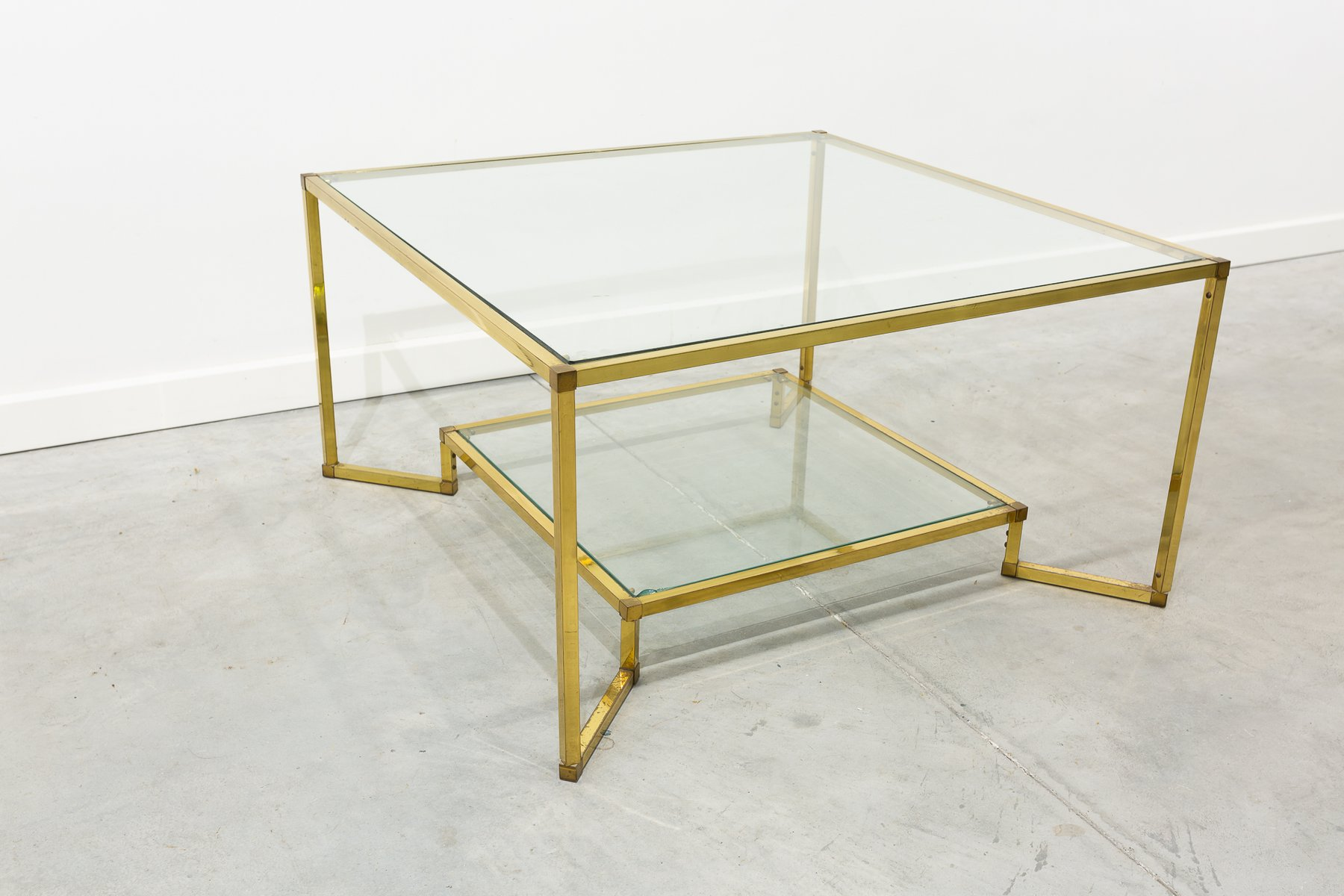 Gold brass and glass coffee table 1970s