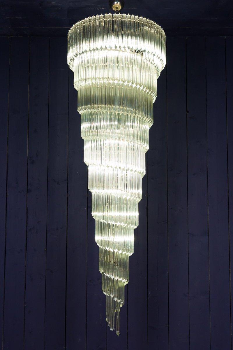 Großer spiralförmiger Vintage Kronleuchter aus Muranoglas