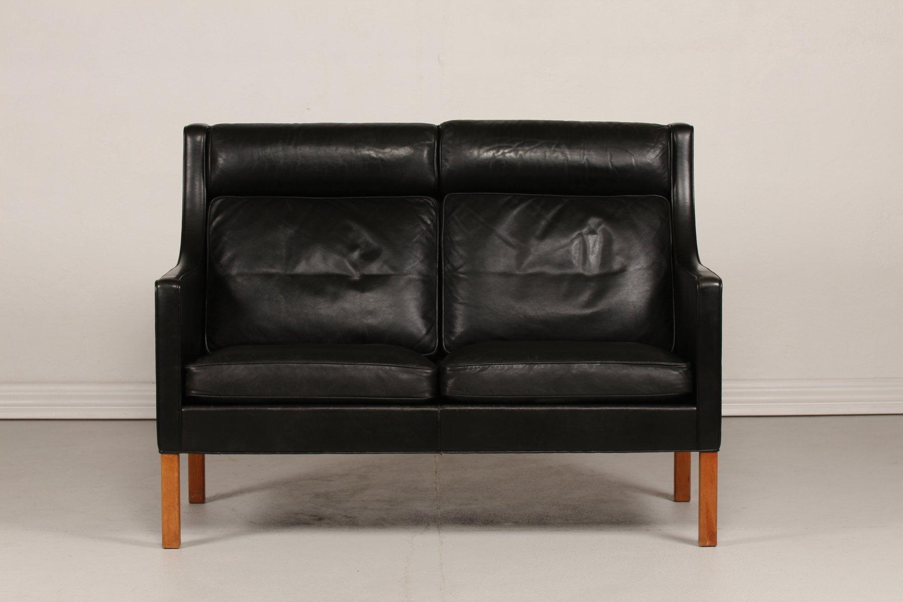Modell 2432 schwarzes Ledersofa mit Beinen aus Eiche von Børge Mogense...