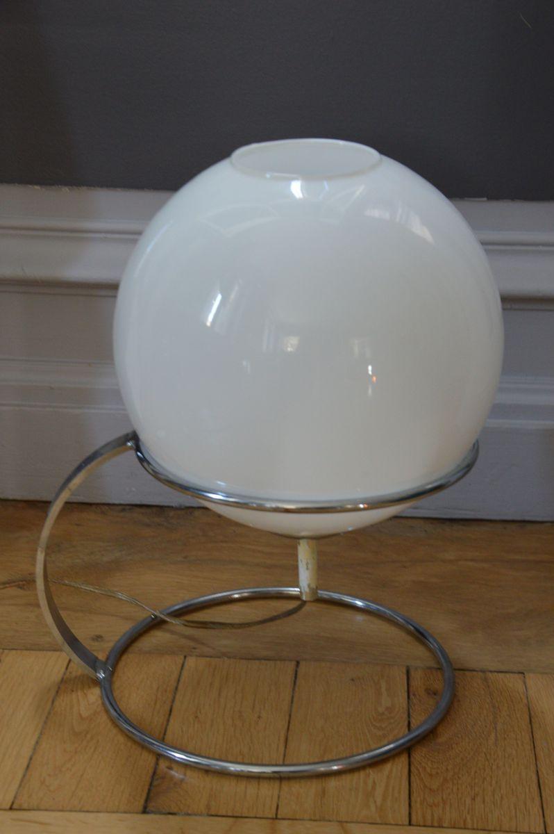 Lampe aus Chrom & Opalglas, 1970er