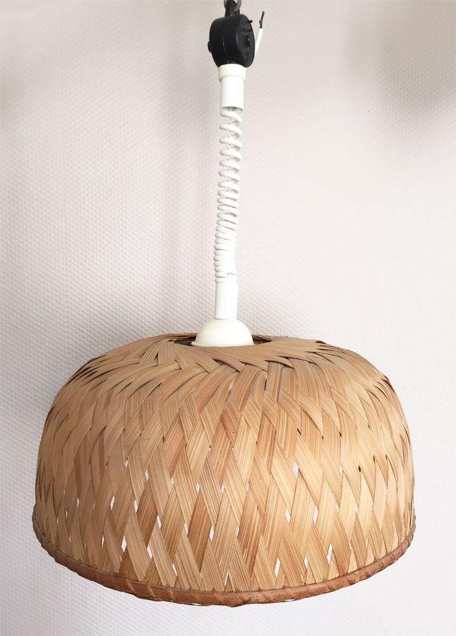 Vintage Hängelampe aus Bambus oder Palme, 1960er