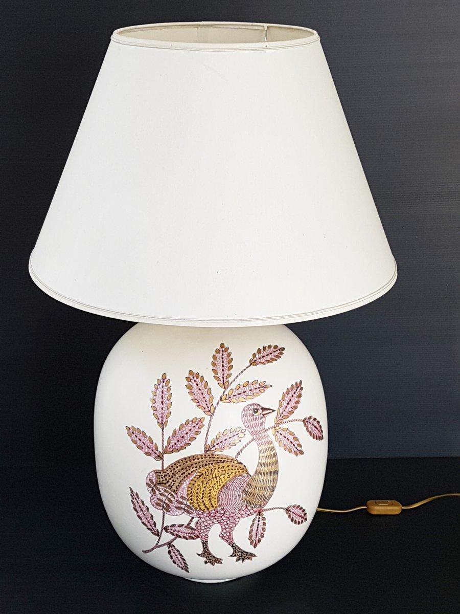 Tischlampe aus Keramik aus Pfauen-Optik, 1970er