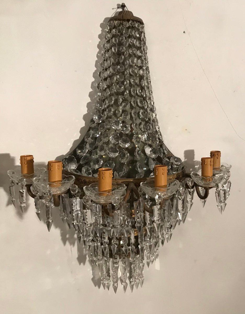 Vintage Wandlampen aus Kristallglas, 2er Set