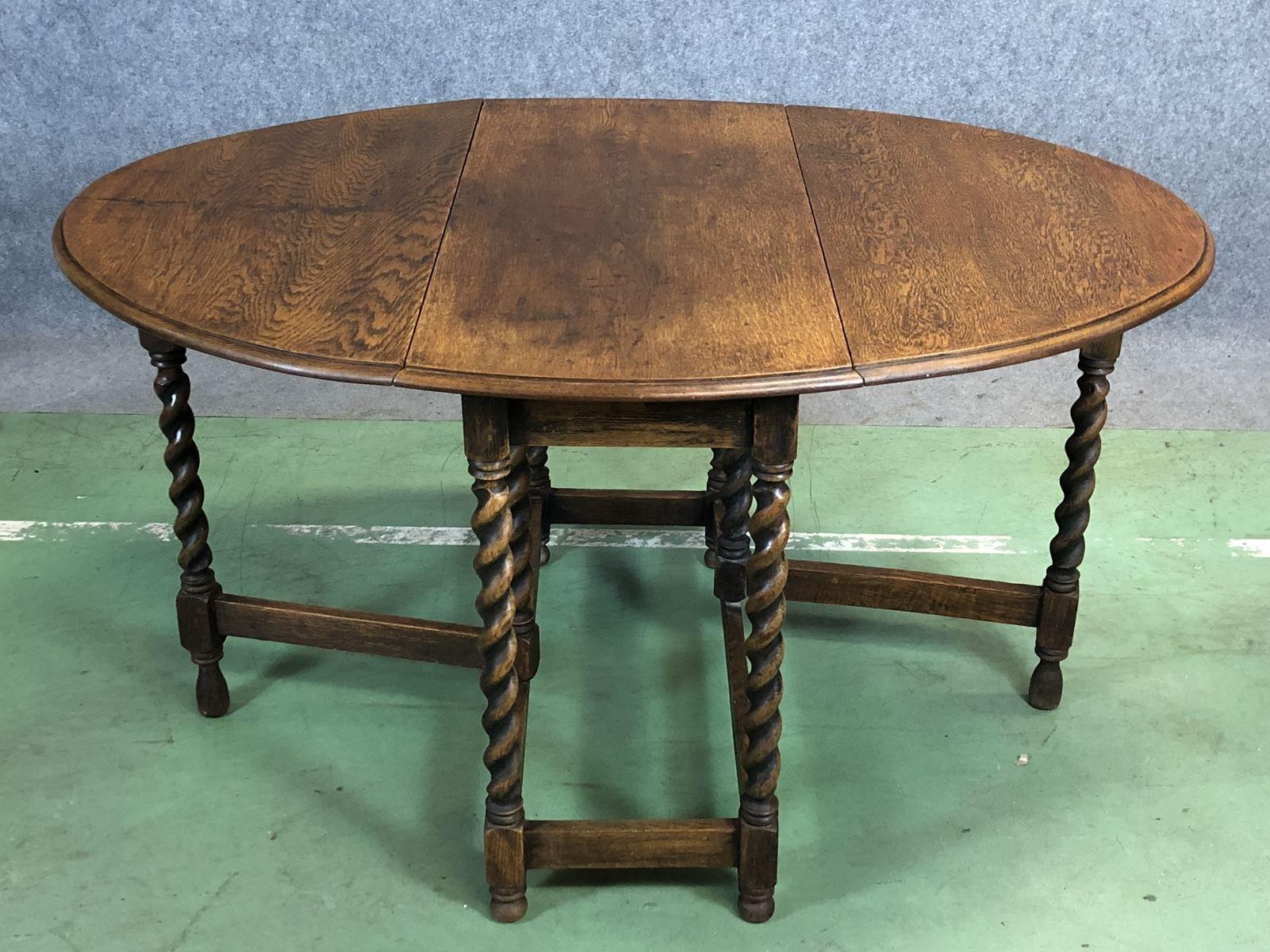 Ausklappbarer Vintage Tisch aus Eiche