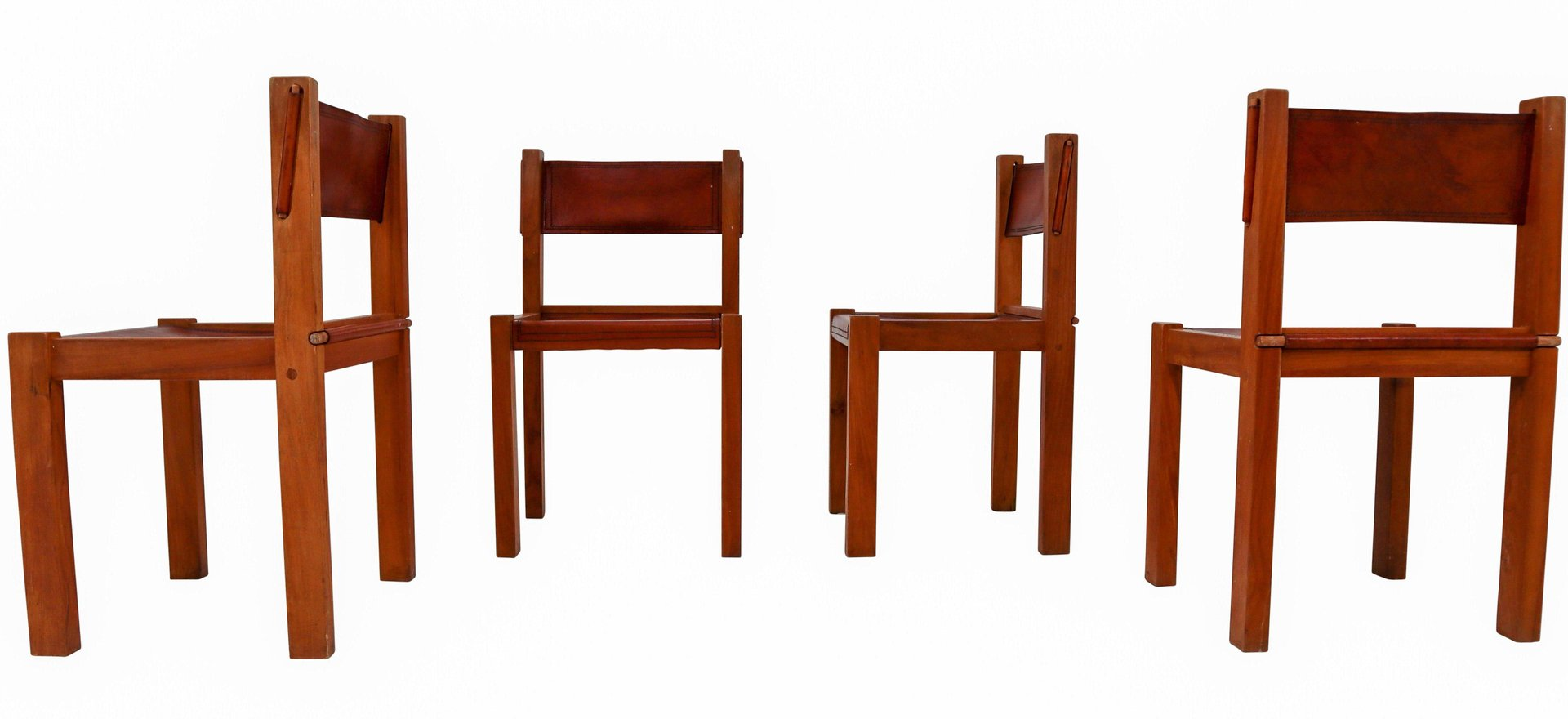 Mid Century Wood Leather Dining Chairs Set Of 4