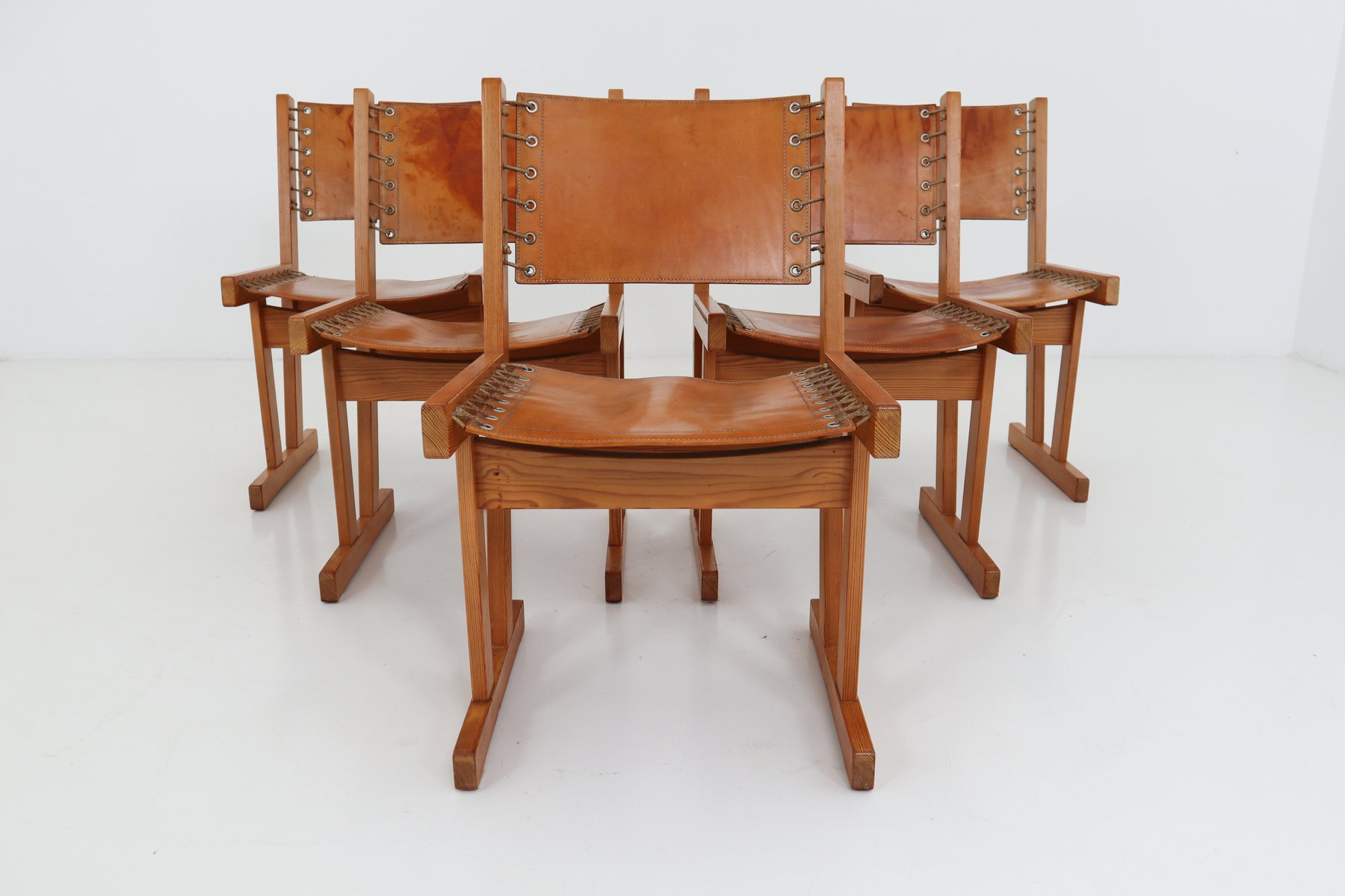 Safari Chairs In Thick Cognac Saddle Leather U0026 Solid Pine, 1970s, Set Of 5