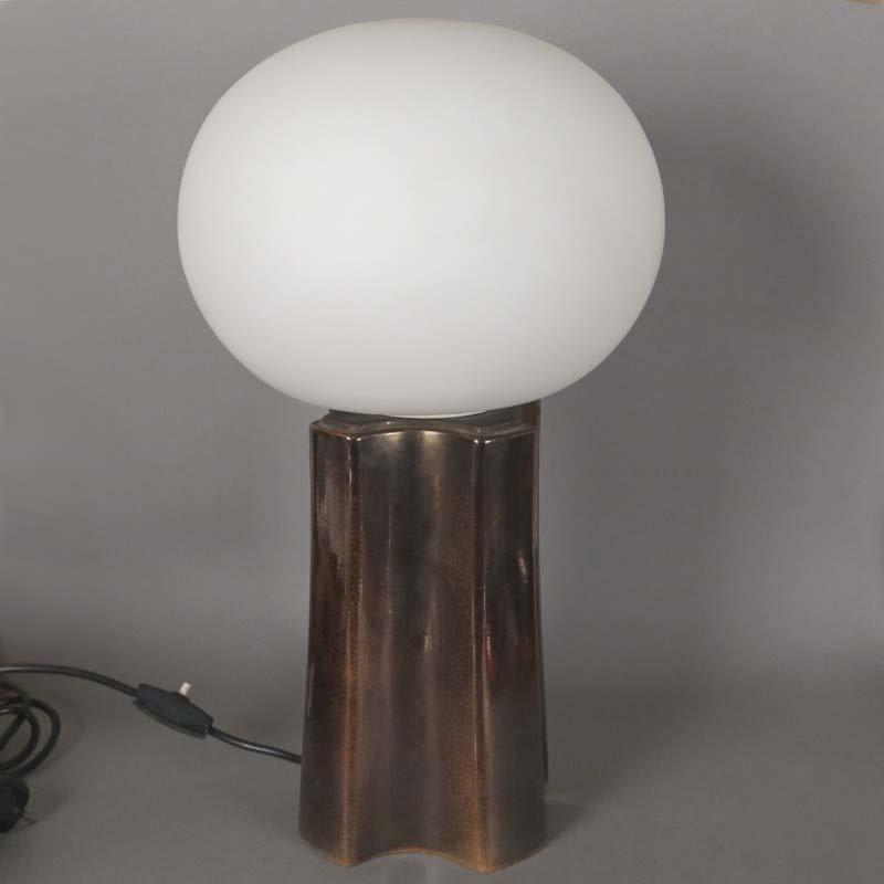Vintage Tischlampe aus Keramik & Glas