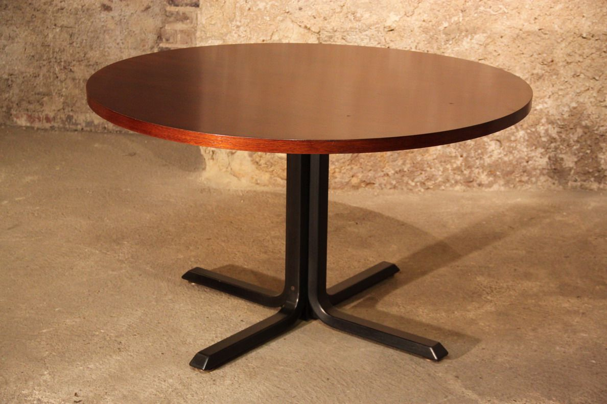 Großer runder Vintage Tisch aus Mahagoni