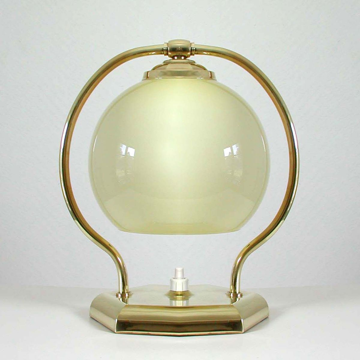 Vintage Brass & Opaline Glass Table Lamp, 1930s