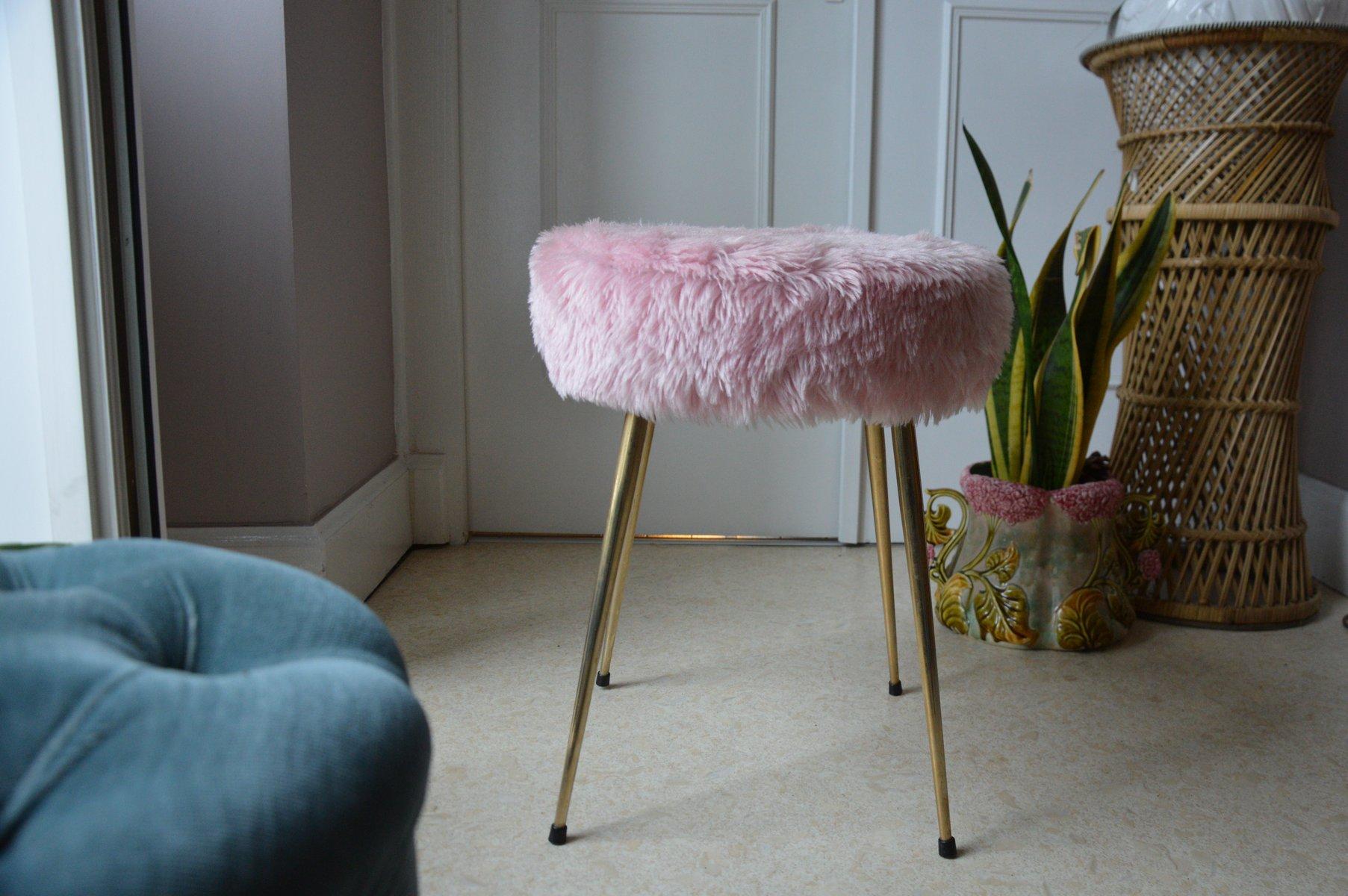 Sgabello in tessuto felpato rosa anni in vendita su pamono