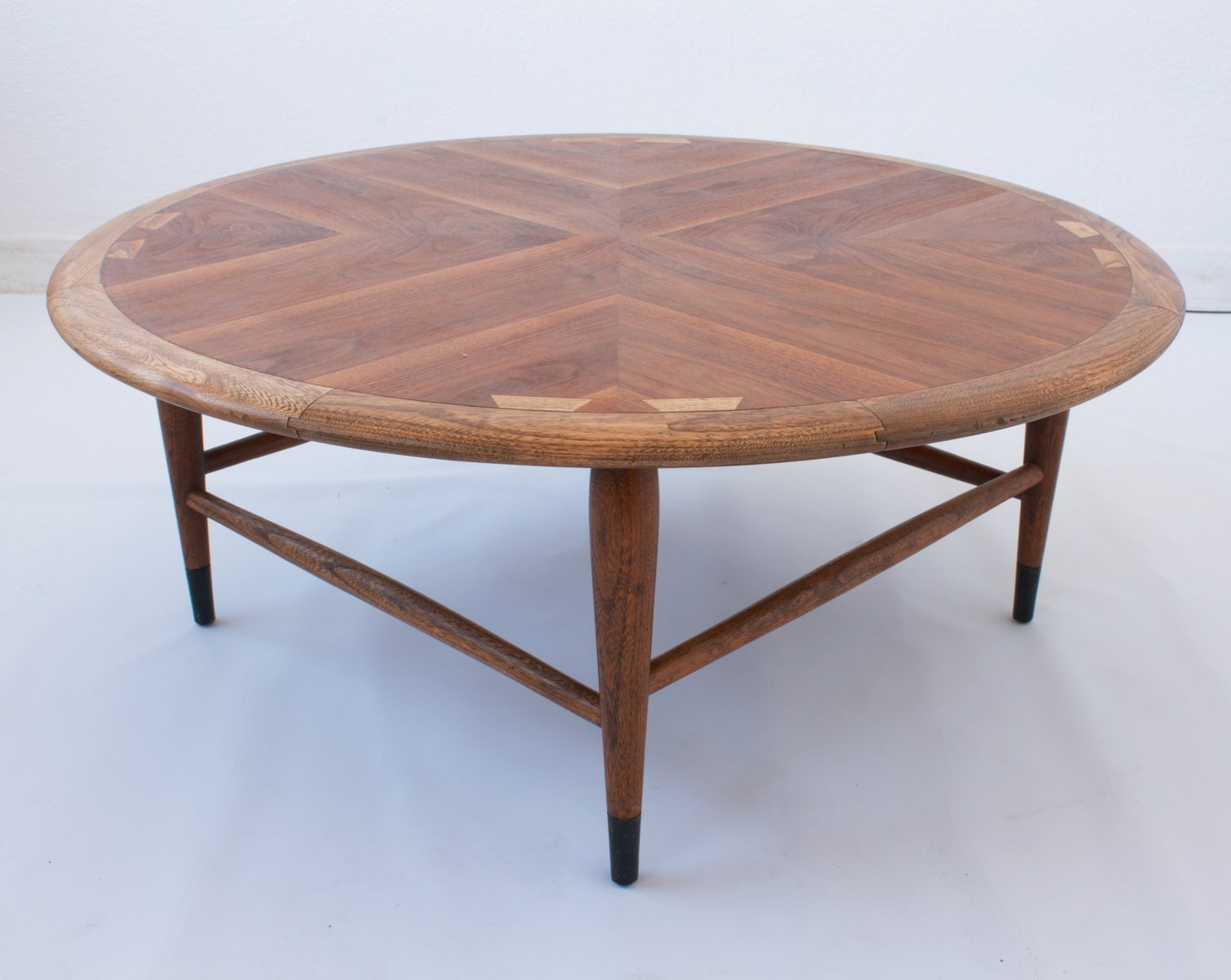 walnut marquetry coffee table by andre bus for lane furniture 1960s cafe konrad vib. Black Bedroom Furniture Sets. Home Design Ideas