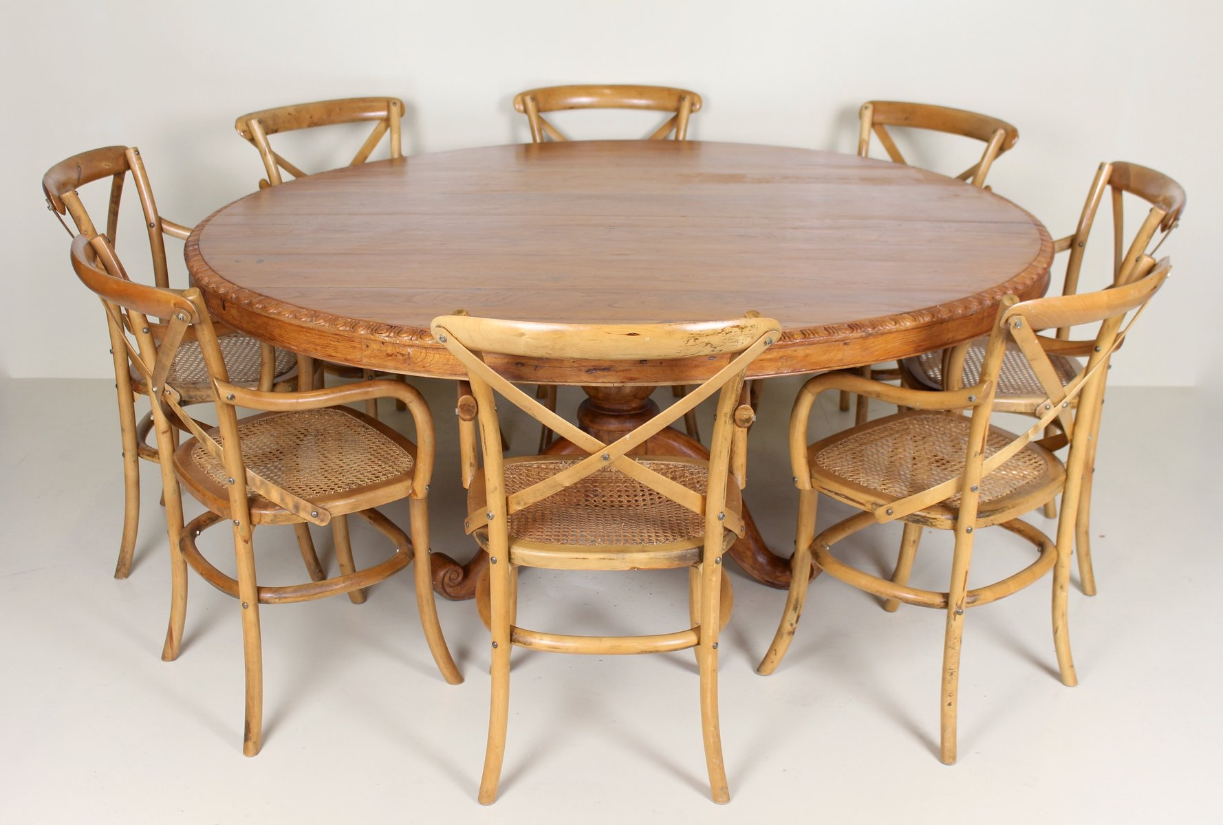 Vintage French Dining Table 8 Chairs