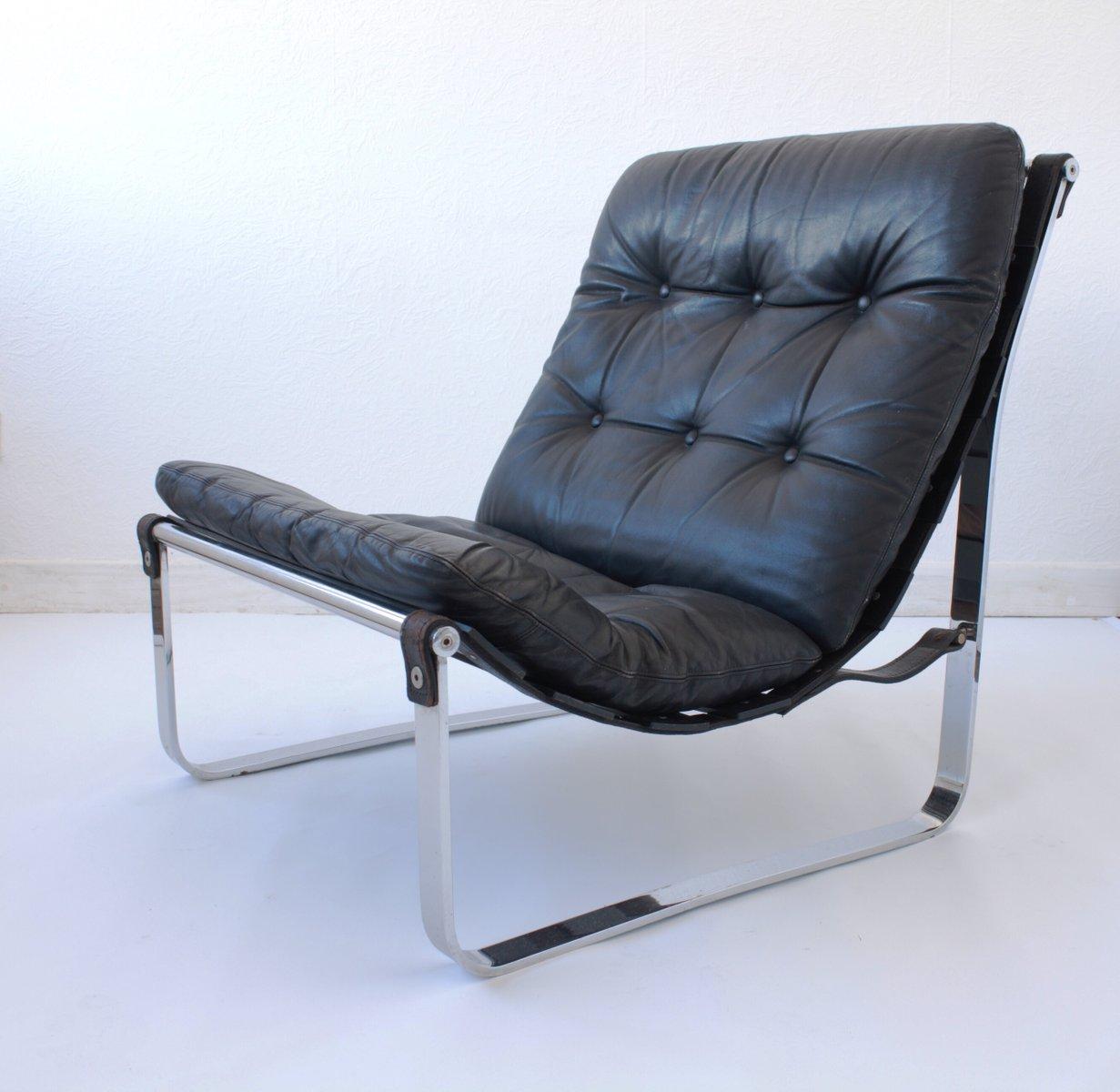 Skandinavischer Sling Chair aus Leder und Chromvon Westnofa, 1970er