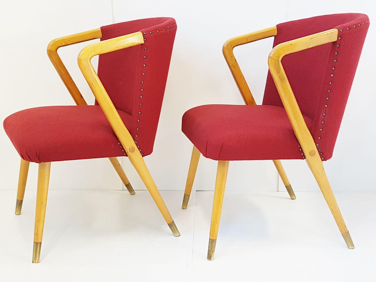 Rote italienische Mid-Century Stühle aus Eiche, 1950er, 2er Set