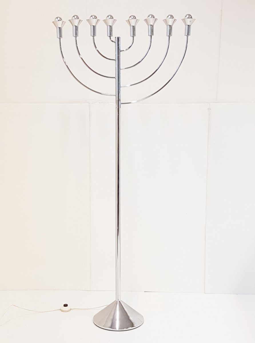 Space Age Chrome-Plated Floor Lamp by Max Bill for Temde, 1970s
