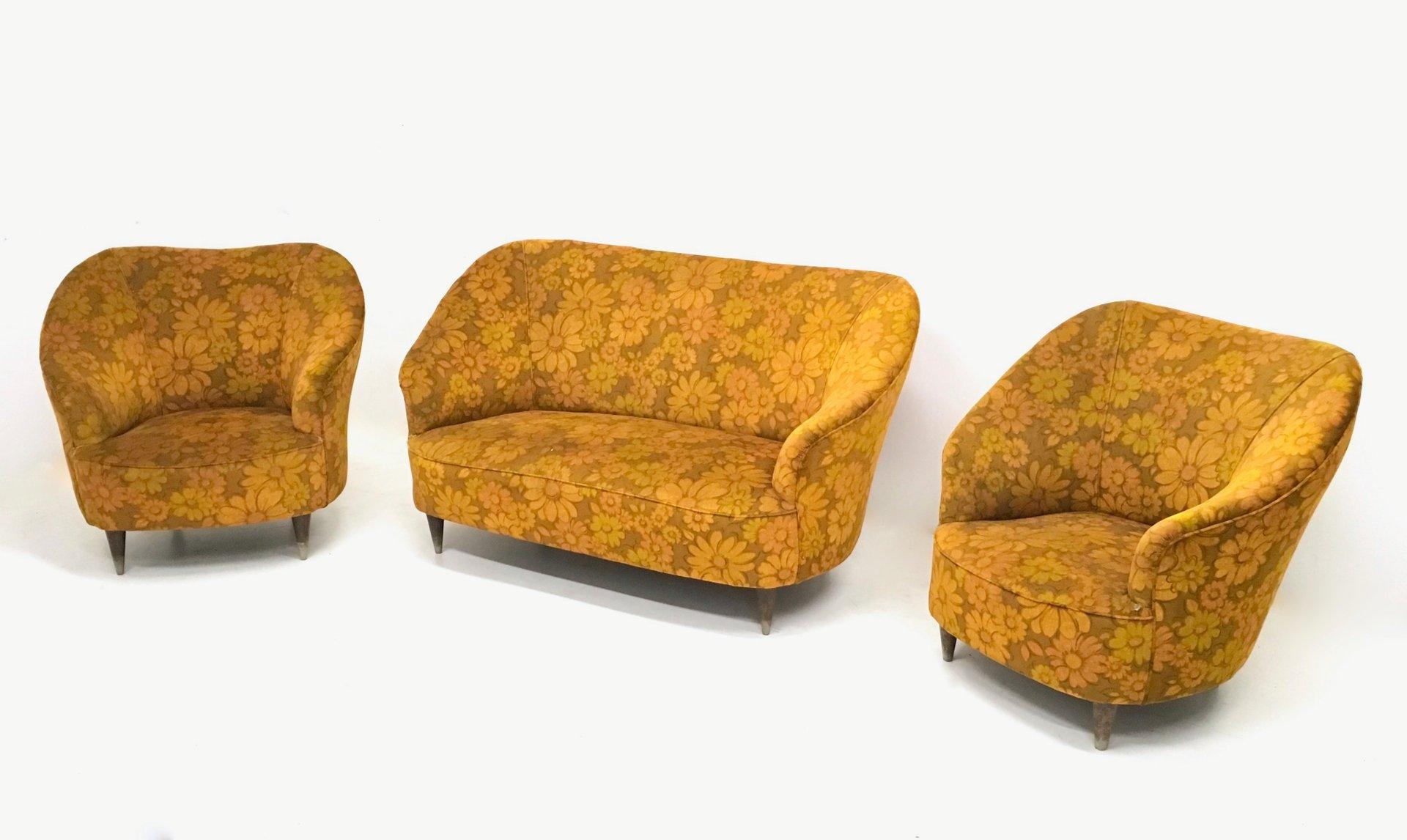 Floral Orange Living Room Set, 1950s