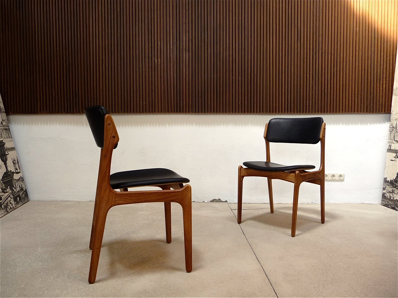 Danish Model 49 Leather Chairs by Erik Buch for O D M¸bler 1960s