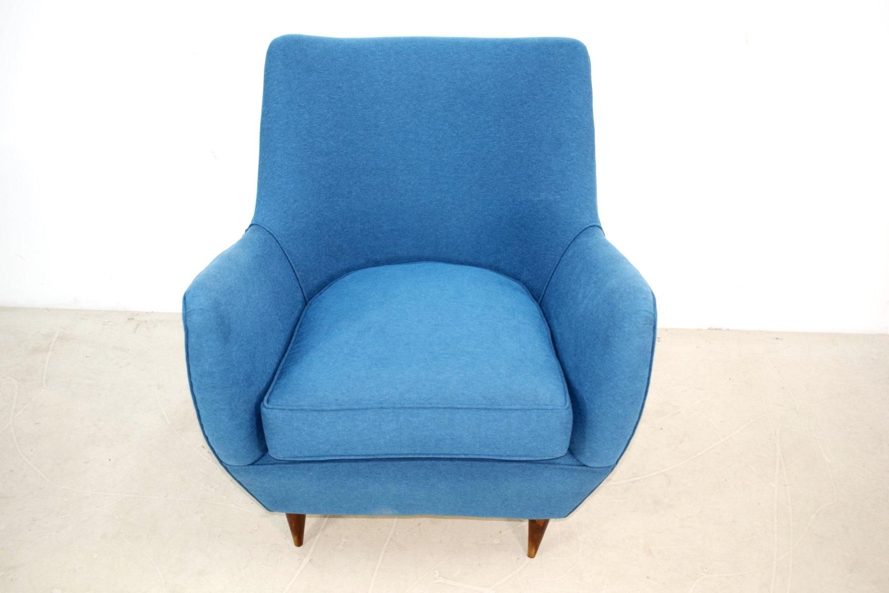 Blauer Armlehnstuhl von Guglielmo Veronesi, 1950er