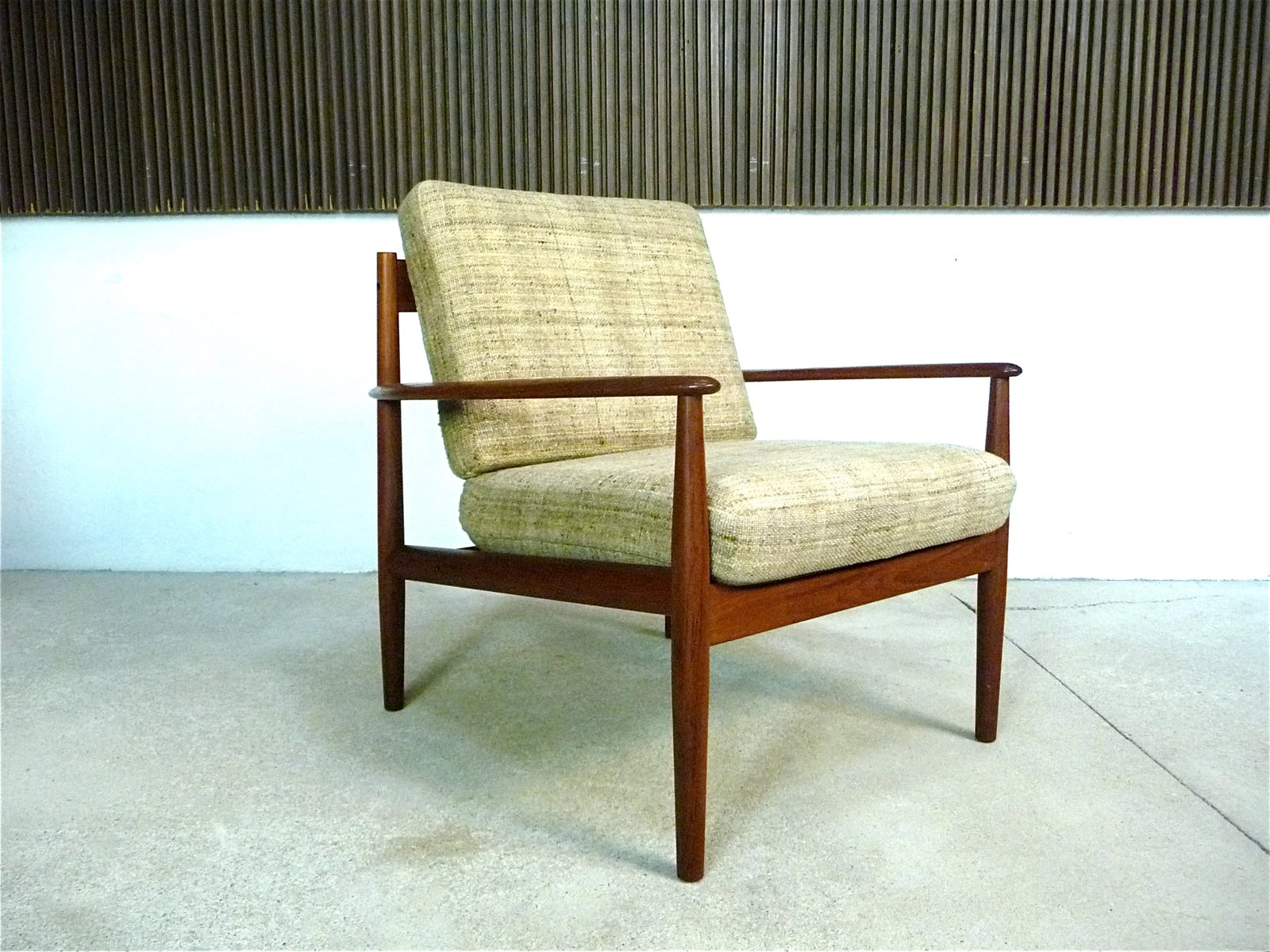 Danish Teak and Wool Easy Chair by Grete Jalk for Cado, 1960s