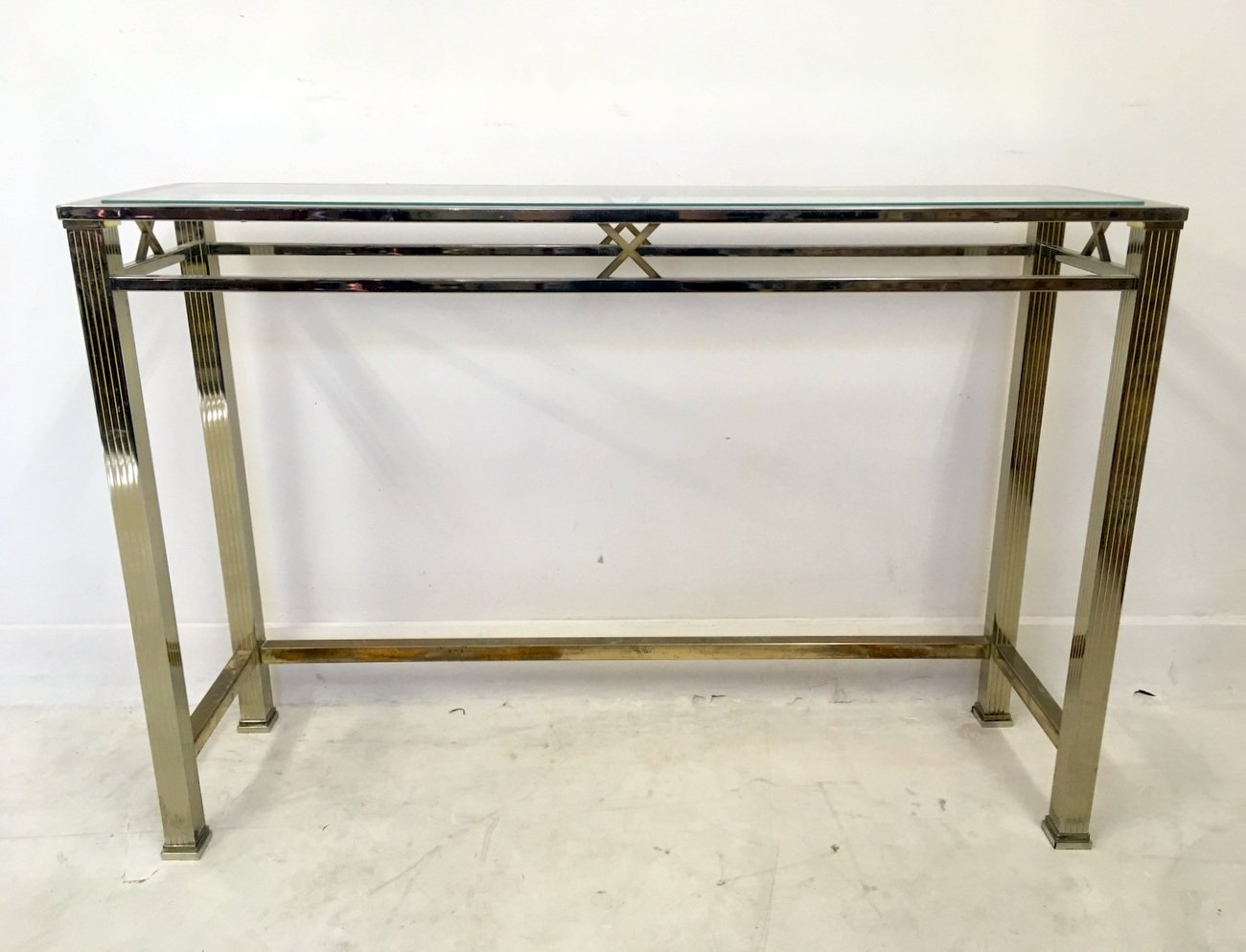 Steel and brass console table and mirror set 1970s