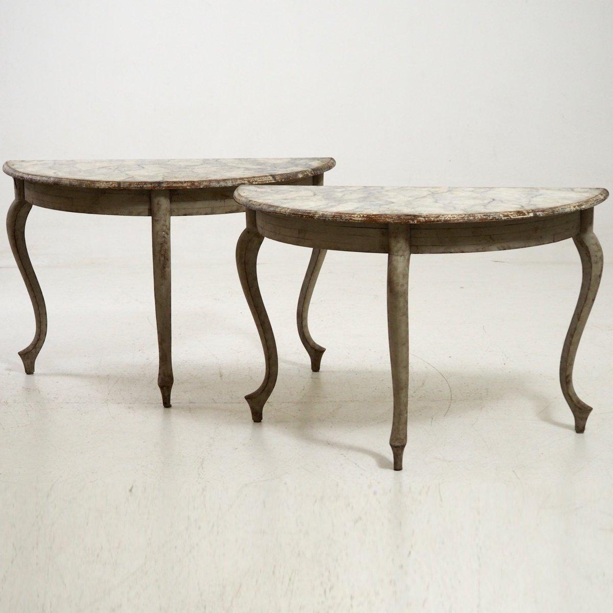 Antique Swedish Demi Lune Tables Set Of 2