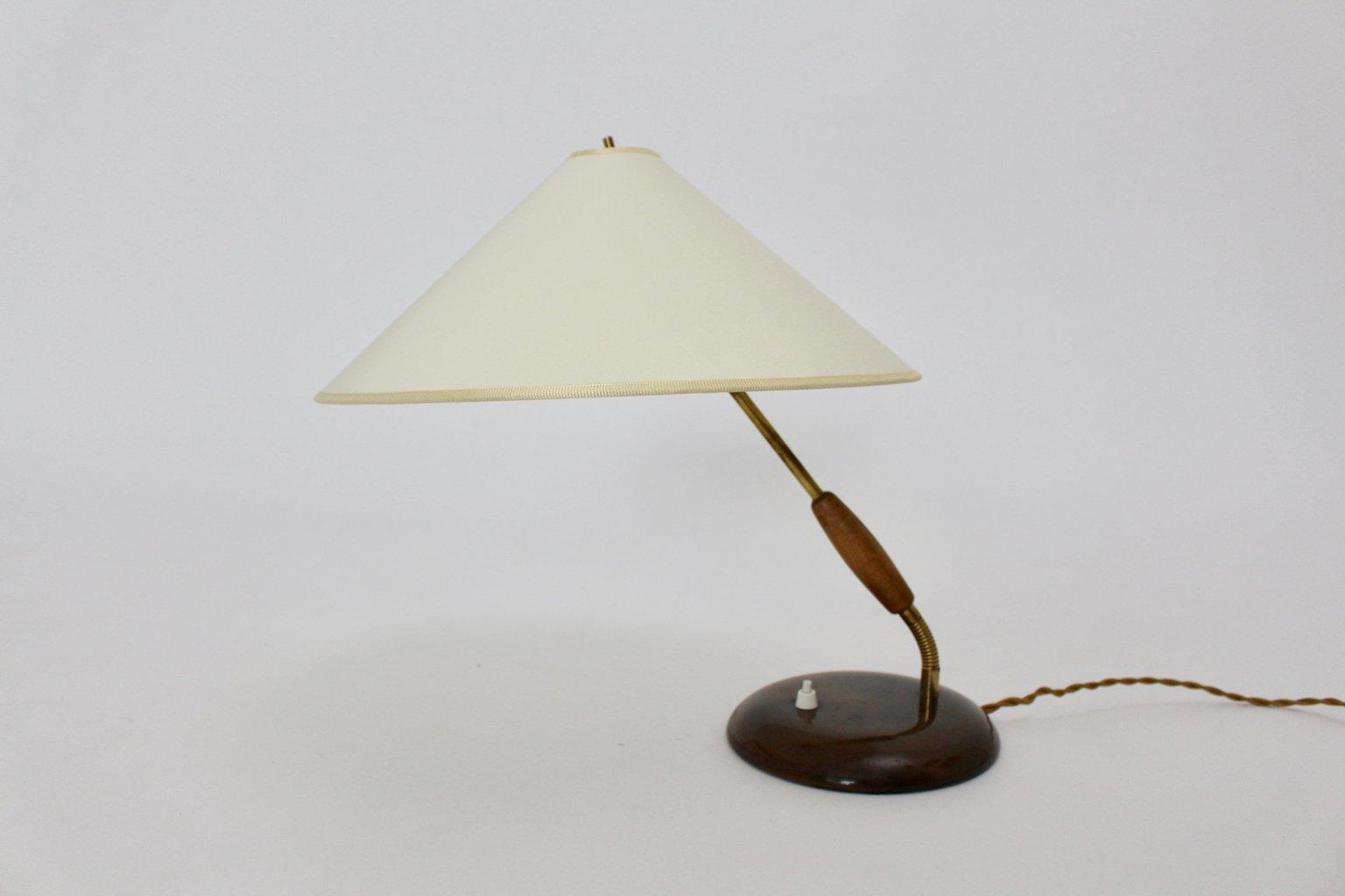 Italienische Messing und Holz Tischlampe, 1940er