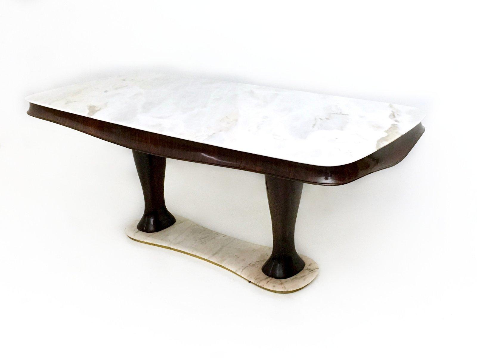 Table de salle manger en h tre et palissandre avec plateau et base en marbre rose portugais - Table salle a manger plateau marbre ...