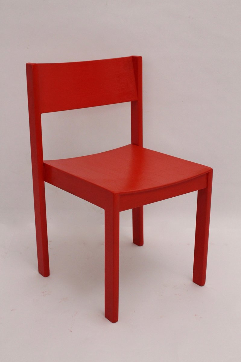 Stackable red dining chairs by carl auböck for e a pollak 1956 set of 6