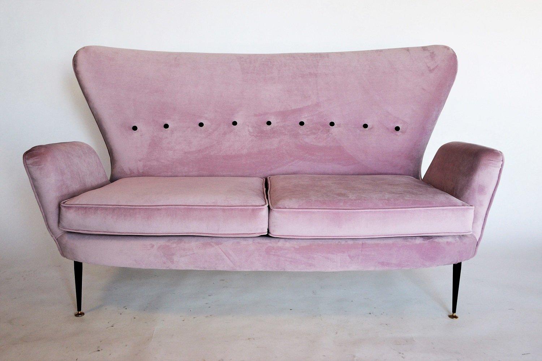 Mid Century Italian Pink Velvet Sofa