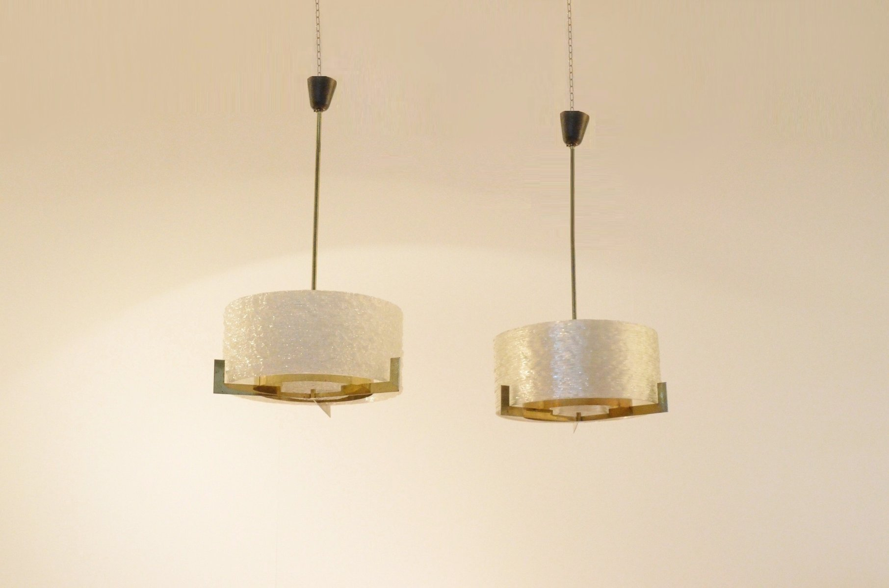 Mid-Century Round Brass Pendant Lamps with Wavy Perspex Diffusers, Set...