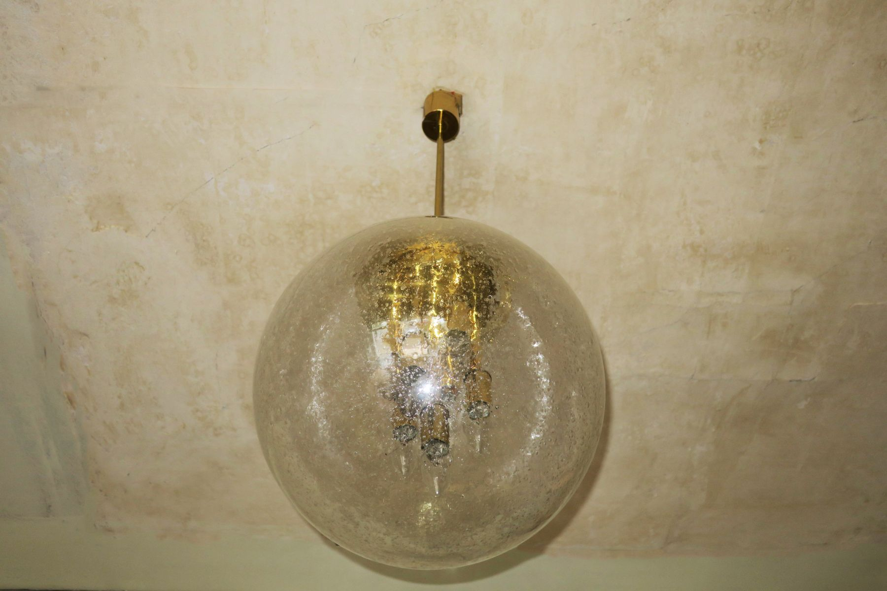 Large Frosted Glass and Brass Globe Pendant from Doria Leuchten, 1960s