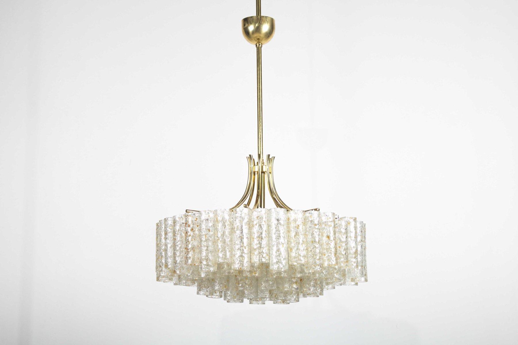 4-stufiger Kronleuchter aus Glas mit goldenen Einschlüssen & Messing v...