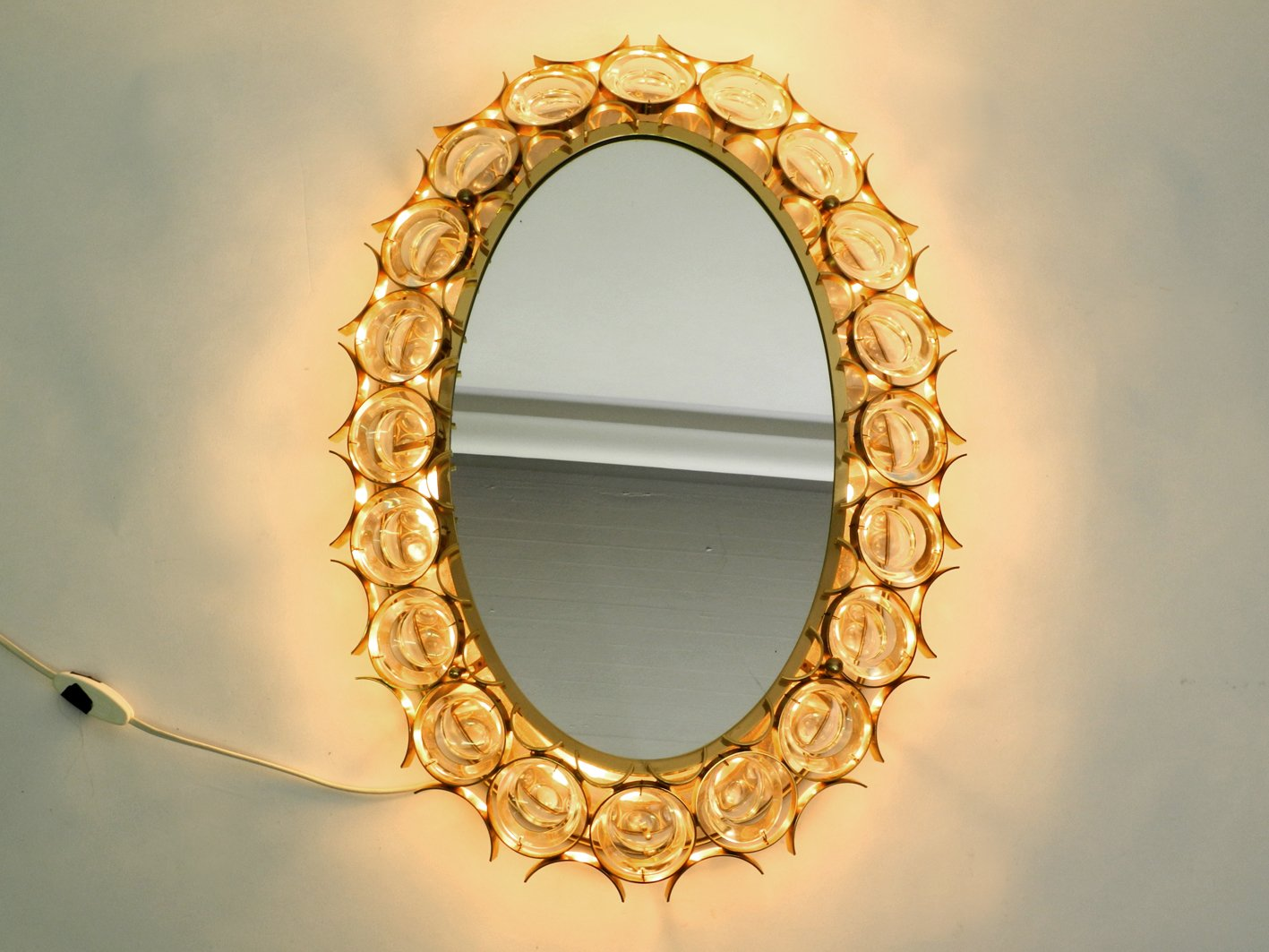 Large Oval Backlit Wall Mirror with Heavy Brass Frame & Crystal ...