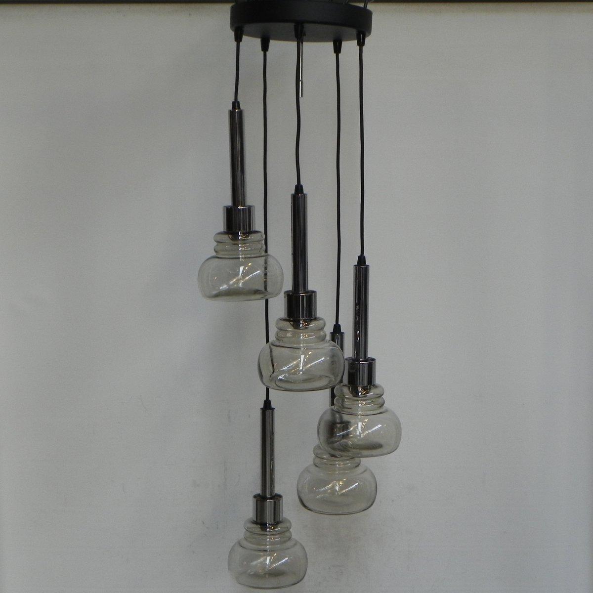 Kaskadierende Hängelampe mit 5 Glasschirmen, 1960er